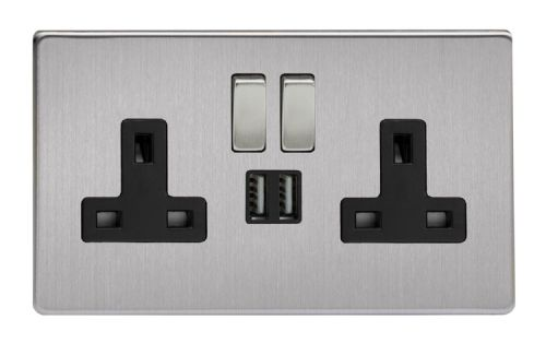 Varilight XDS5U2SBS Screwless Brushed Steel 2 Gang Double 13A Switched Plug Socket 2.1A USB